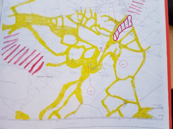 Extract from EN403(2000) - Asham bat foraging areas/flight routes in yellow. Approx foraging area within red shading. Point 2 is the Asham Stone Conveyor Tunnel roost.
